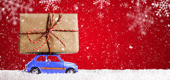 Retro toy car with christmas gifts Stock Image