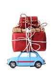 Retro toy car with christmas gifts Royalty Free Stock Photos