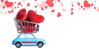Retro toy car with Valentine heart Royalty Free Stock Image