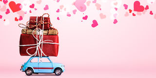 Retro toy car with Valentine heart Stock Images