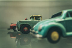 Retro toy cars. In a museum Royalty Free Stock Photography