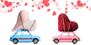 Retro toy cars with Valentine heart Royalty Free Stock Image