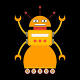 Retro toy robot character in flat style. Cute retro toy robot in flat style. EPS10 vector illustration of vintage robot icon or character Royalty Free Stock Images