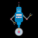 Retro toy robot character in flat style. Cute retro toy robot in flat style. EPS10 vector illustration of vintage robot icon or character Stock Photo