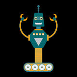 Retro toy robot character in flat style. Cute retro toy robot in flat style. EPS10 vector illustration of vintage robot icon or character Royalty Free Stock Photos