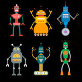 Retro toy robot set. Set of cute retro toy robots in flat style. EPS10  illustration of vintage robot icons and characters Royalty Free Stock Photography