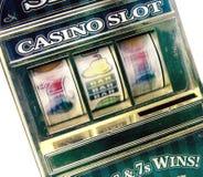 Retro toy slot machine spinning. To win stock photo