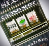 Retro toy slot machine spinning Royalty Free Stock Image