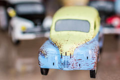 Retro toy sport car. Retro sport toy car on a glass stand Royalty Free Stock Photography