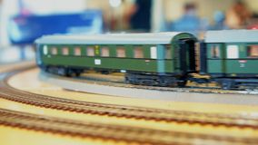 Retro toy train. Retro toy train with wagons moving stock video footage