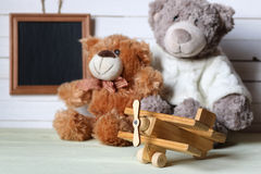 Retro toy on wooden board place text Royalty Free Stock Photo