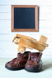 Retro toy on wooden board place text Stock Photo