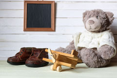 Retro toy on wooden board place text Stock Images