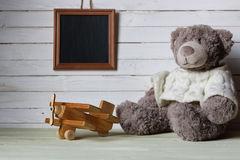 Retro toy on wooden board place text Royalty Free Stock Photos