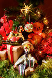 Retro toys and gifts under a christmas tree Royalty Free Stock Images