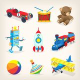Retro toys for kids. Set of colorful retro toys for children. Isolated vector illustrations for cards, books or posters Stock Photos