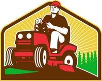 Retro trädgårdsmästareLandscaperRide On Lawn gräsklippningsmaskin royaltyfri illustrationer