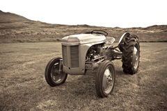 Retro Tractor on the Iceland field Stock Photos