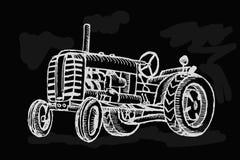Retro tractor op zwarte achtergrond vector illustratie