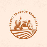 Retro Tractor Silhouette Vector Logo or Emblem Template. Vintage Farm Sign with Typogrphy. Royalty Free Stock Images