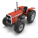 Retro Tractor on white. 3D illustration Royalty Free Stock Image