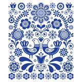 Scandinavian cute folk art vector decoration with birds and flowers, Scandinavian navy blue floral pattern. Retro, traditional floral ornament inspired by Stock Photo