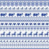Retro traditioneel dwars-steek vector naadloos patroon - de herhaalde achtergrond inspireerde Zwitsers oud stijlborduurwerk met b stock illustratie