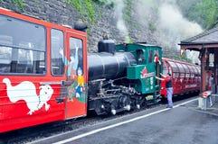 Retro train with locomotive crew before departure. Stock Image
