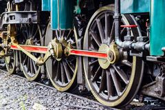 Retro - The train wheel. of Steam locomotive Royalty Free Stock Image