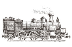 Retro train on a white background. Sketch. retro train on a white background Royalty Free Stock Image