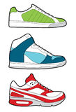 Retro trainers. 3 styles of sneaker shoe in 3 color schemes. Vector illustration Royalty Free Stock Images