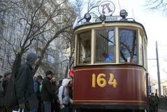 Retro tram alla parata della linea tranviaria di Mosca - 2017 Immagine Stock Libera da Diritti