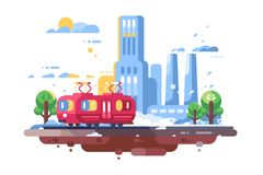Retro tram on cityscape background stock illustration