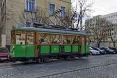 RETRO tram d'annata Siemens sulle vie di Sofia Fotografie Stock