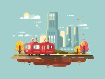 Retro tram design flat Royalty Free Stock Image