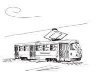 Retro tram disegnato a mano Fotografie Stock