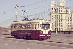 Retro tram goes to the depot. Royalty Free Stock Photography