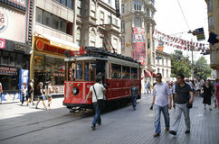 Retro tram on Istiklal Caddesi. Istanbul Stock Photography