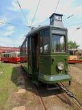 Retro tram from Lodz. Green zielony old tram Lodz, Lodz still efficient attraction streets Stock Image
