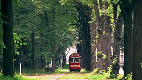Retro Tram (1909-1910 model), close-up. Riga's Retro tram is a 1909-1910 model fully restored in 1982, based on old drawings and photos stock footage
