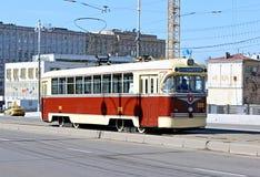 Retro Tram in Moscow. Retro tram rides on Bolshoy Ustinsky Bridge in Moscow Royalty Free Stock Photos
