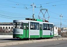 Retro Tram in Moscow. Retro tram rides on Bolshoy Ustinsky Bridge in Moscow Stock Image