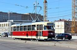Retro Tram in Moscow. Retro tram rides on Bolshoy Ustinsky Bridge in Moscow Stock Photo