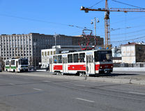 Retro Tram in Moscow Stock Photos