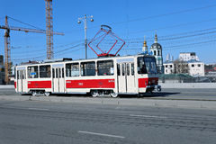 Retro Tram in Moscow Royalty Free Stock Image