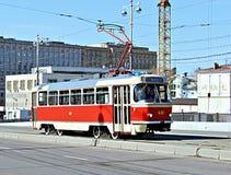 Retro Tram in Moskou Royalty-vrije Stock Foto