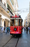Retro tram moves along a busy Istiklal street in Istambul. Royalty Free Stock Photography