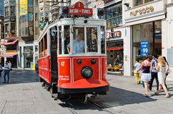 Retro tram moves along a busy Istiklal street in Istambul. Stock Photography