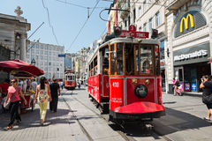 Retro tram moves along a busy Istiklal street in Istambul. Stock Images