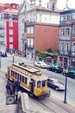 Retro tram in Porto, Portugal. Royalty Free Stock Photography